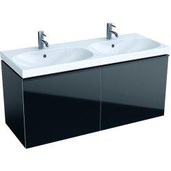 Mobilier de baie Dulap baza Geberit Acanto 119x47.6cm, cu doua sertare sticla negru, corp negru mat