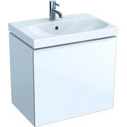 Dulap baza Geberit Acanto 59.5x41.6cm cu un sertar sticla alba, corp alb lucios