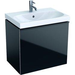 Dulap baza Geberit Acanto 59.5x41.6cm cu un sertar sticla negru, corp negru mat