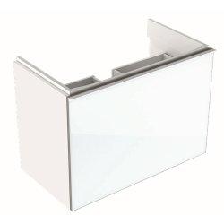Dulap baza Geberit Acanto 74x41.6cm cu un sertar sticla alba, corp alb lucios