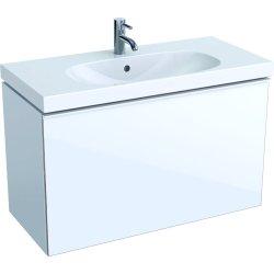 Default Category SensoDays Dulap baza Geberit Acanto 89x41.6cm cu un sertar sticla alba, corp alb lucios