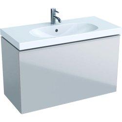 Default Category SensoDays Dulap baza Geberit Acanto 89x41.6cm cu un sertar sticla gri nisip, corp gri nisip mat