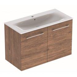 Default Category SensoDays Set mobilier suspendat Geberit Selnova 100cm cu doua usi si lavoar inclus, nuc american