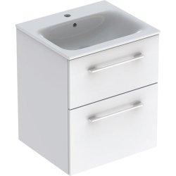 Default Category SensoDays Set mobilier Geberit Selnova Square, lavoar 55cm cu margine ingusta si dulap cu doua sertare, alb lucios
