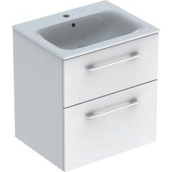 Set mobilier Geberit Selnova Square, lavoar 60cm cu margine ingusta si dulap cu doua sertare, alb lucios