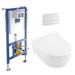 Set complet vas WC suspendat Villeroy&Boch Avento DirectFlush, capac slim cu inchidere lenta, rezervor incastrat si clapeta ViConnect