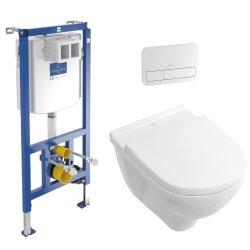 Seturi vase WC Set complet vas WC suspendat Villeroy & Boch O.Novo 56x36cm Directflush, capac cu Inchidere lenta si QuickRelease, rezervor incastrat si clapeta ViConnect