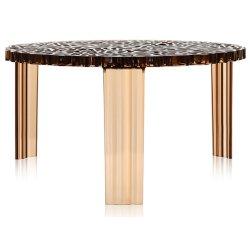 Masute de cafea Masuta Kartell T-Table design Patricia Urquiola, 50cm, h 28cm, chihlimbar transparent