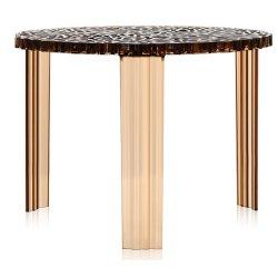 Masute de cafea Masuta Kartell T-Table design Patricia Urquiola, 50cm, h 36cm, chihlimbar transparent