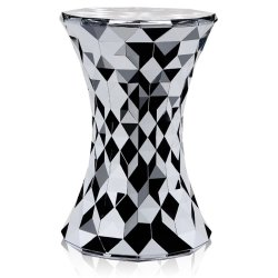 Masute de cafea Masuta Kartell Stone design Marcel Wanders, 30cm, h45cm, crom metalic