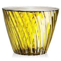 Masute de cafea Masuta Kartell Sparkle design Tokujin Yoshioka, diametru 45cm, h 35cm, galben pal