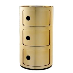 Default Category SensoDays Comoda modulara Kartell Componibile 3 design Anna Castelli Ferrieri, auriu metalizat