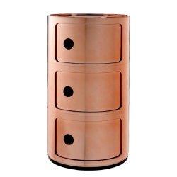 Comoda modulara Kartell Componibile 3 design Anna Castelli Ferrieri, cupru metalizat