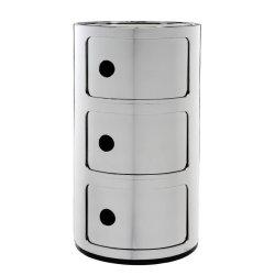 Default Category SensoDays Comoda modulara Kartell Componibile 3 design Anna Castelli Ferrieri, crom metalizat