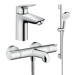 Default Category SensoDays Set baterii 3in1 Hansgrohe Ecostat Termostatic, include baterie lavoar, baterie cada termostatata si set de dus
