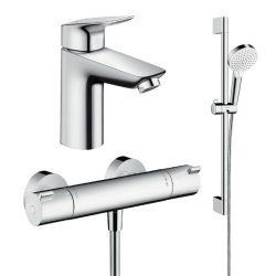 Default Category SensoDays Set baterii 3in1 Hansgrohe Ecostat Termostatic, include baterie lavoar, baterie dus termostatata si set de dus