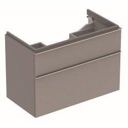 Dulap baza Geberit iCon 89cm cu doua sertare, gri platin lucios