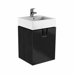 Mobilier de baie Dulap baza Kolo Twins 50cm, un sertar, negru mat