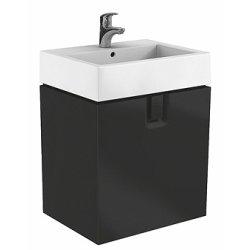 Seturi mobilier baie Set mobillier Kolo Twins 60cm cu lavoar si dulap baza cu un sertar, negru mat