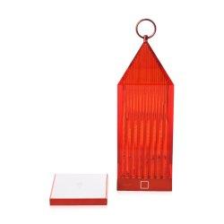 Iluminat electric Lampa portabila de exterior Kartell Lantern design Fabio Novembre, 1,2W LED, rosu transparent