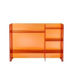 Comoda Kartell Sound-Rack design Ludovica & Roberto Palomba, 75x26x53cm, portocaliu transparent
