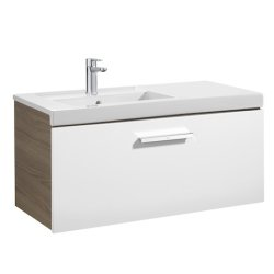 Seturi mobilier baie Set mobilier Roca Prisma lavoar 90cm stanga si dulap baza cu 1 sertar, alb/frasin