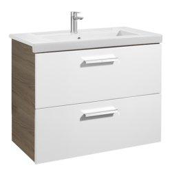Seturi mobilier baie Set mobilier Roca Prisma lavoar 80cm si dulap baza cu 2 sertare, alb/frasin