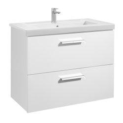 Seturi mobilier baie Set mobilier Roca Prisma lavoar 80cm si dulap baza cu 2 sertare, alb