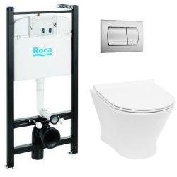 Obiecte sanitare Set vas wc suspendat Roca Nexo Rimless cu capac Slim inchidere lenta, rezervor cu cadru si clapeta crom lucios