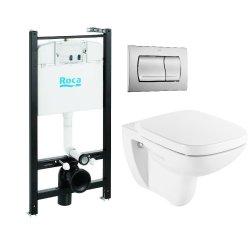 Seturi vase WC Set vas wc suspendat Roca Debba cu capac inchidere lenta, rezervor si clapeta crom lucios