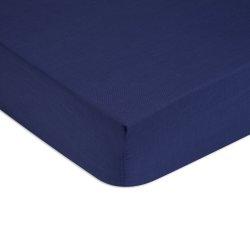 Cearceaf de pat cu elastic Tommy Hilfiger Unis Satin 140x200cm, Albastru Navy
