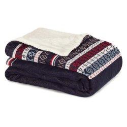 Textile decorative Pled Tommy Hilfiger Jacquard Decos 130x170cm, Albastru Navy