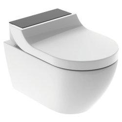 Seturi vase WC Set vas WC suspendat Geberit AquaClean Tuma Comfort, capac inchidere lenta, functie bideu electric, ornament sticla neagra
