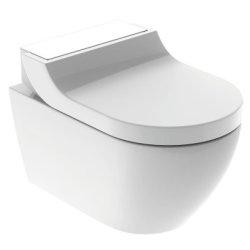 Seturi vase WC Set vas WC suspendat Geberit AquaClean Tuma Comfort, capac inchidere lenta, functie bideu electric, ornament sticla alba