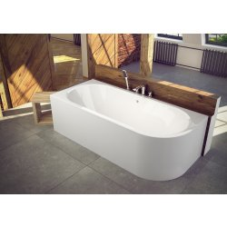 Cada baie asimetrica Besco Avita 160x75cm, acril, orientare stanga