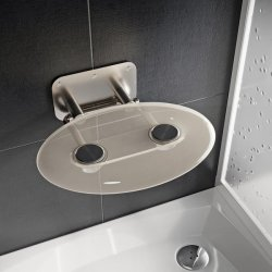 Accesorii baie Scaun pliabil pentru dus Ravak Ovo P II Clear, max 150kg, transparent