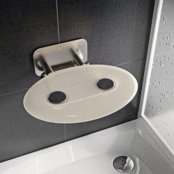Accesorii baie Scaun pliabil pentru dus Ravak Ovo P II Opal, max 150kg, alb lucios