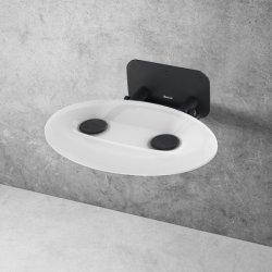 Accesorii baie Scaun pliabil pentru dus Ravak Ovo P II Opal-Black, max 150kg, alb lucios