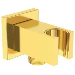 Pare si furtunuri de dus Conector FixFit Ideal Standard Ideal Rain Square cu agatatoare de dus, auriu periat