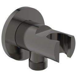 Pare si furtunuri de dus Conector FixFit Ideal Standard Ideal Rain Round cu agatatoare de dus, gri magnetic