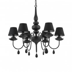 Lustra Ideal Lux Blanche SP6, 6x40W, 75x80-120cm, negru