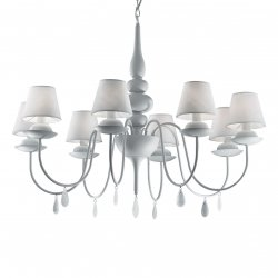 Candelabre & Lustre Lustra Ideal Lux Blanche SP8, 8x40W, 82x90-140cm, alb