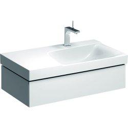Dulap baza Geberit Xeno2 88x46.2cm decupaj sifon dreapta, cu un sertar, alb lucios