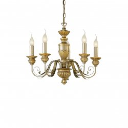 Candelabre & Lustre Lustra Ideal Lux Dora SP5, 5x40W, 55x45-105cm, auriu antichizat