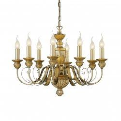 Candelabre & Lustre Lustra Ideal Lux Dora SP8, 8x40W, 65x45-105cm, auriu antichizat