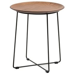 Masute de cafea Masuta Kartell Al Wood design Philippe Stark, d40cm, h45.5cm, furnir, baza negru, lemn inchis