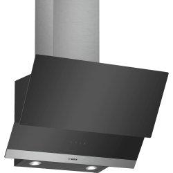 Produse Noi Hota decorativa Bosch DWK065G60 Serie 2, 60cm, design inclinat, 3 trepte, 593 m³/h, RimVentilation, sticla neagra