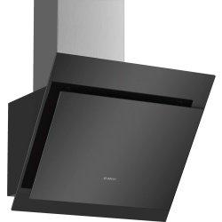 Produse Noi Hota decorativa Bosch DWK67CM60 Serie 4, 60cm, design inclinat, 3 trepte + Intensiv, 700 m³/h Intensiv, RimVentilation , sticla neagra