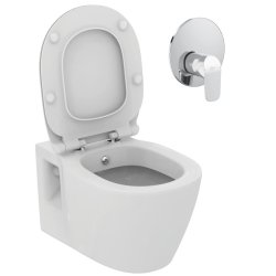 Seturi vase WC Set vas WC suspendat cu functie de bideu Ideal Standard Connect, capac cu inchidere normala si actionare functie bideu