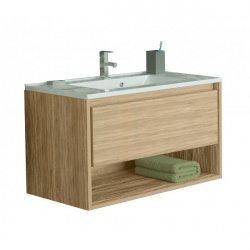 Seturi mobilier baie Set mobilier Sanotechnik Soho cu dulap baza suspedat si lavoar compozit 60x48cm, stejar natur
